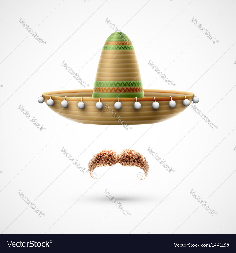 Sombrero and mustache vector | Price: 1 Credit (USD $1)