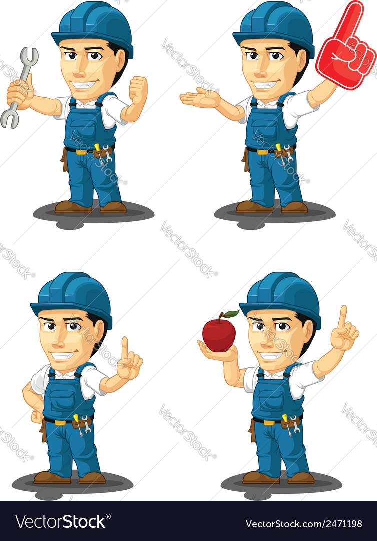 Technician or repairman mascot 10 vector | Price: 1 Credit (USD $1)
