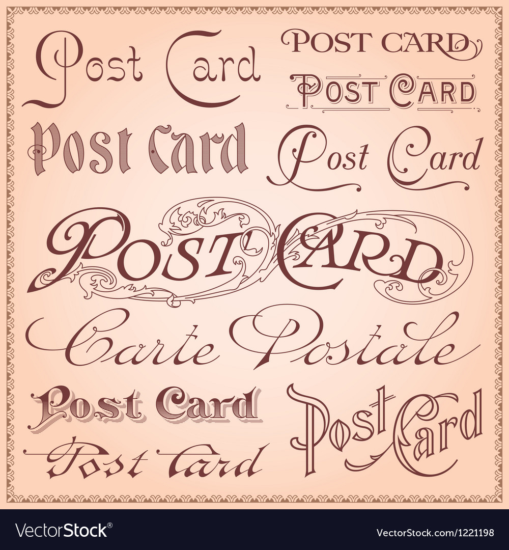 Vintage postcard lettering vector | Price: 1 Credit (USD $1)