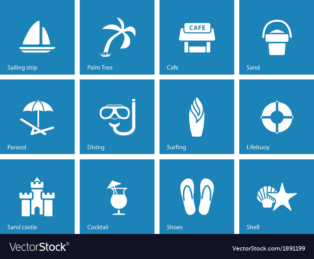 Beach icons on blue background vector | Price: 1 Credit (USD $1)