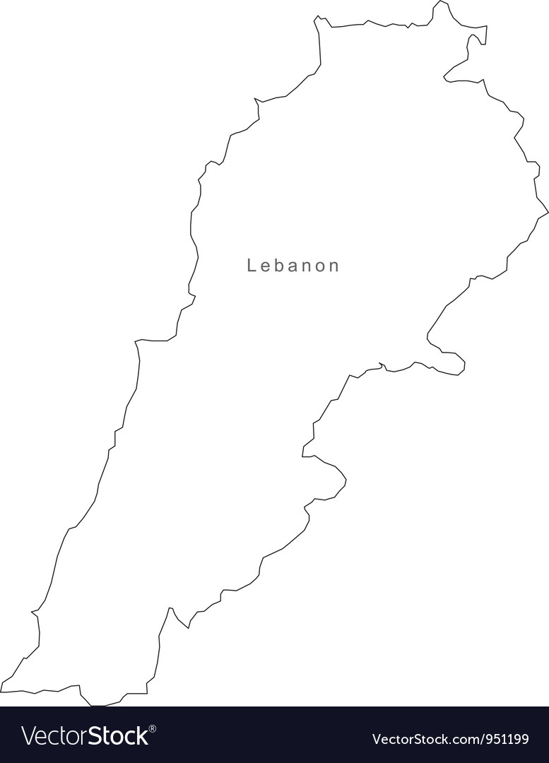 Black white lebanon outline map vector | Price: 1 Credit (USD $1)