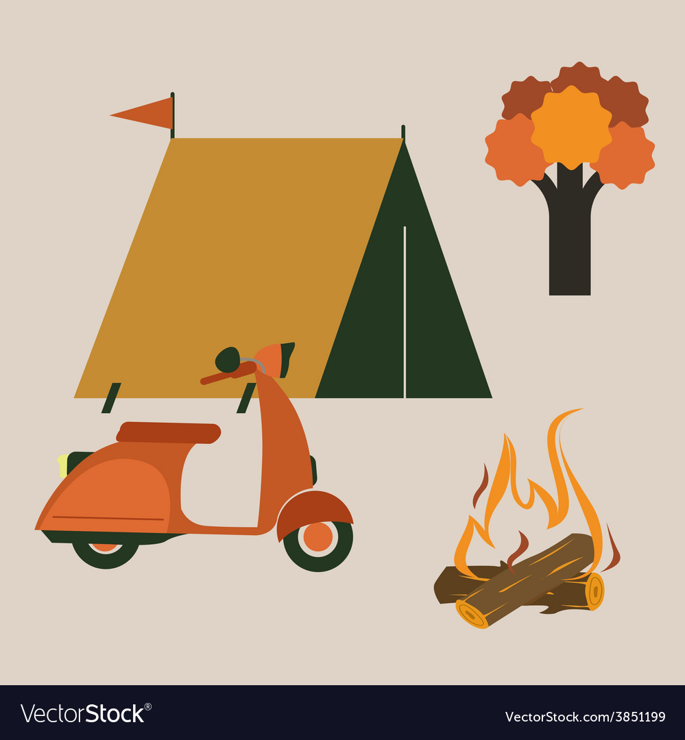 Camping set with scooter vector