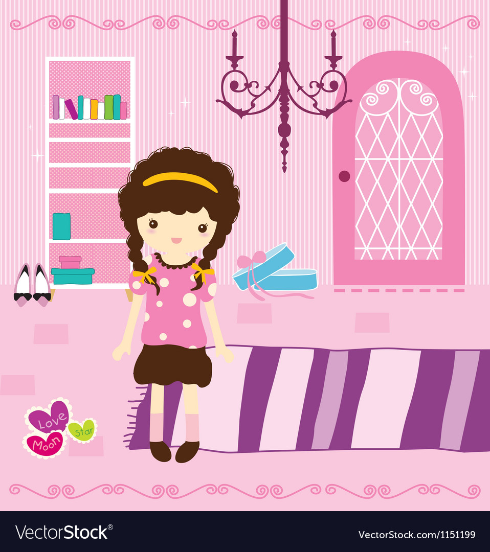 Cute girl in bed room vector | Price: 1 Credit (USD $1)