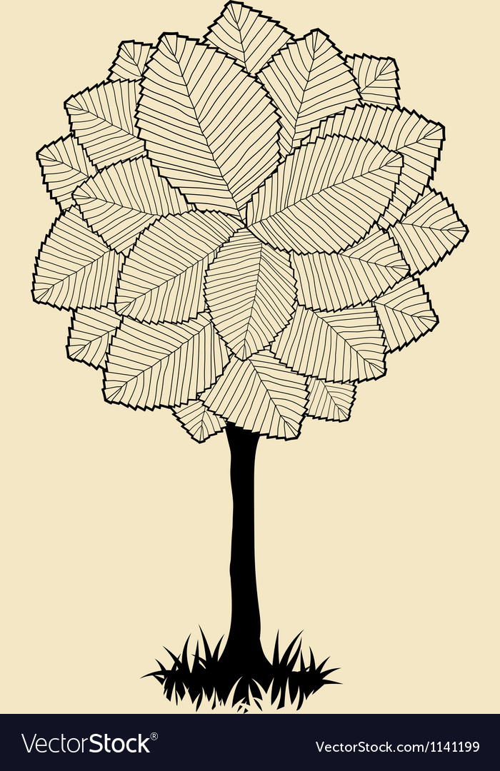 Floral tree silhouette vector | Price: 1 Credit (USD $1)