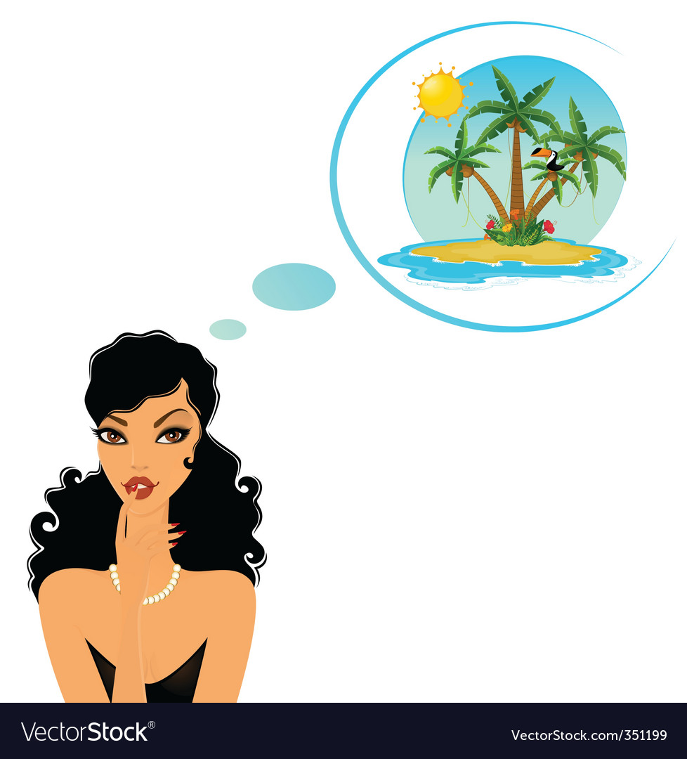 Girl in paradise vector | Price: 1 Credit (USD $1)