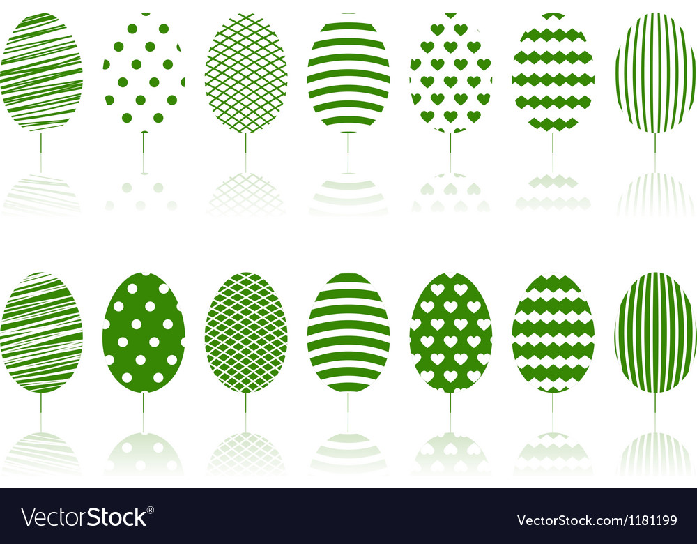 Green decoration garden trees symbols set vector | Price: 1 Credit (USD $1)