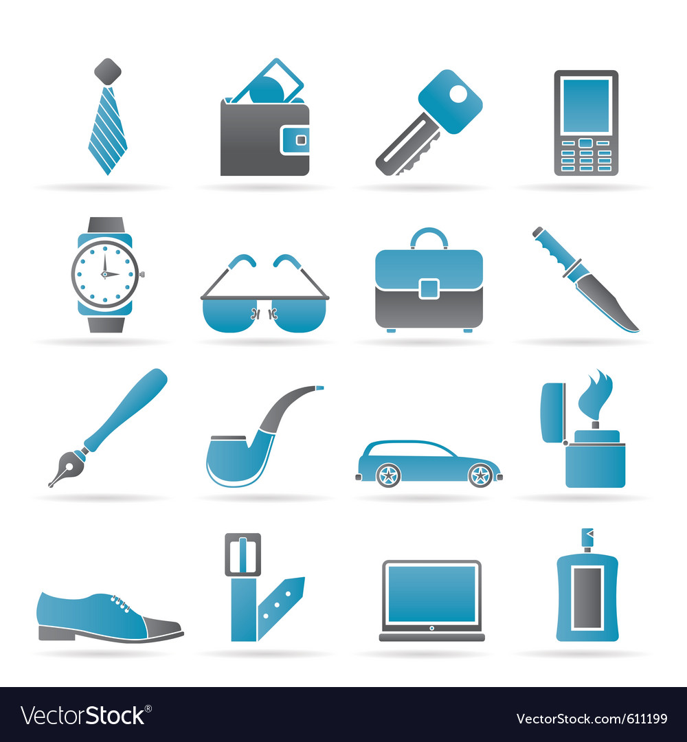 Man accessories icons vector | Price: 1 Credit (USD $1)