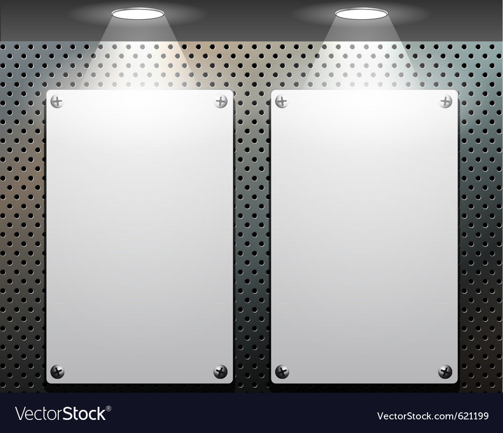Metallic plate on the perforated wall vector | Price: 1 Credit (USD $1)