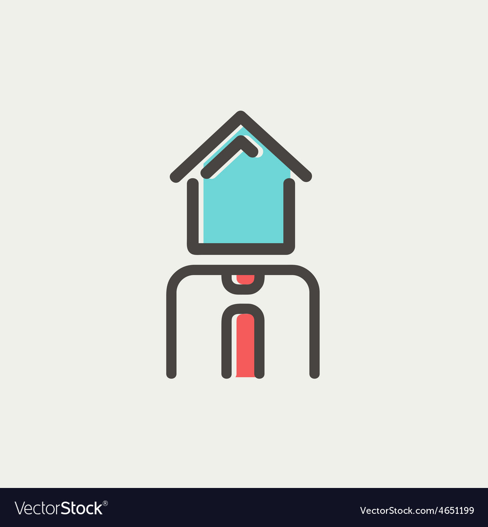 Real estate agent thin line icon vector | Price: 1 Credit (USD $1)