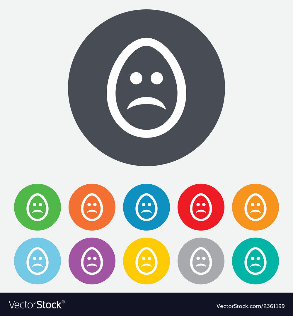 Sad egg face sign icon sadness symbol vector | Price: 1 Credit (USD $1)