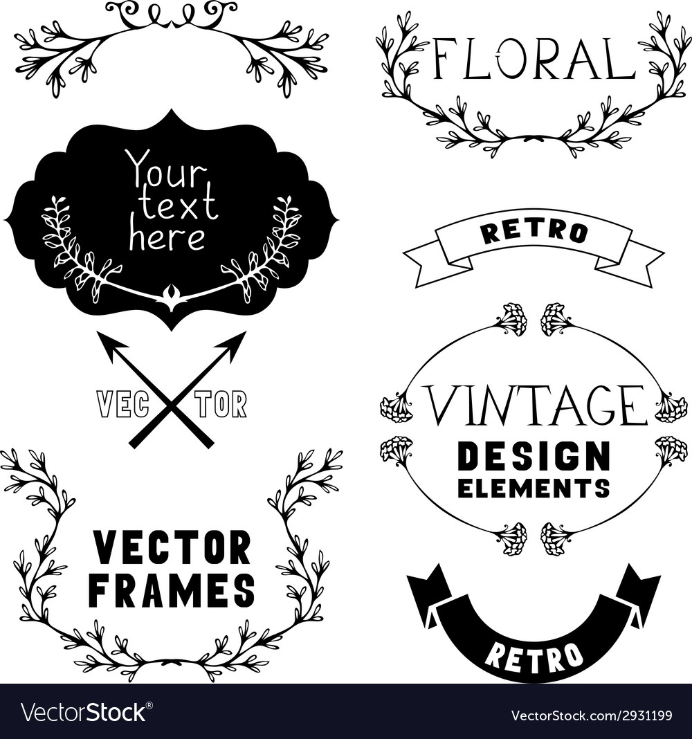 Set of vintage design elements and page vector | Price: 1 Credit (USD $1)