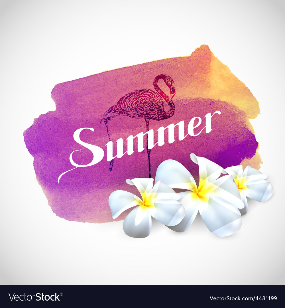 Summer label with exotic flowers and flamingo bird vector | Price: 1 Credit (USD $1)