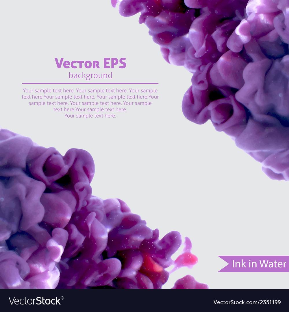 Violet swirling wetercolor ink in water vector   Price: 1 Credit (USD $1)