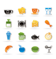 Food and drink icons vector