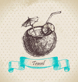 Vintage background with tropic coconut cocktail vector