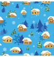 Christmas pattern with houses vector