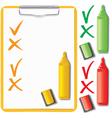 Orange clipboard paper sheet and marker set vector