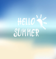 Summer beach background and white text hello summe vector