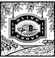 Retro olive grove black and white vector
