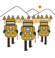 Backpack group hiking mountain vector
