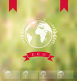 Blurred background with eco badge ecology label - vector