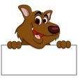 Brown bear cartoon with blank sign vector