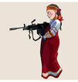 Woman in national sundress with a submachine gun vector