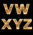 Gold letters set v-z vector