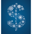 Dollar sign font frosty snowflakes vector