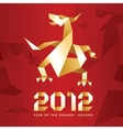 Origami dragon 2012 year - redgold vector