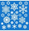 Set of different white snowflakes icons vector