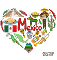 Mexican symbols in heart shape concept vector