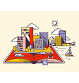 Cartoon open book with modern city on yel vector