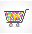 Shopping cart with group of colorful leaf vector