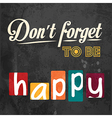 Dont forget to be happy motivational background vector
