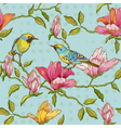 Vintage seamless background - flowers and birds vector