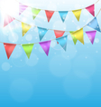 Buntings with sun on sky background vector