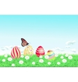 Easter background with decorated easter eggs vector