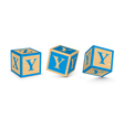 Letter y wooden alphabet blocks vector