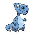 Cute blue cartoon dinosaur vector