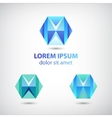 Set of crystal abstract geometric polygon logos vector