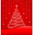 Red background with christmas tree vector