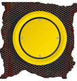 Circle yellow sign over rusty background vector