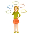 Girl with speech bubbles around vector