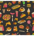 Colored hand drawn fast food pattern vector