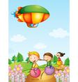 Three kids playing below an airship vector