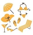 Collection of beach summer accessories vector