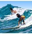Woman surfing on a wave moving vector