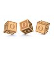 Letter o wooden alphabet blocks vector
