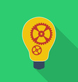 Idea icon bulb with gears modern flat style with a vector